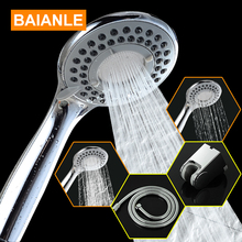 Baianle Three-Function ABS Chrome Finish Water Saving High Pressure Plastic Bathroom Hand Held Round Shape Shower Head
