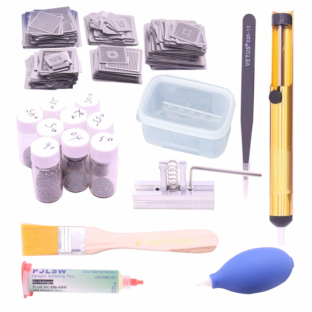 110pcs BGA Reballing Directly Heat Stencils Solder Paste Balls Station BGA Reballing Kit For SMT Rework Repair