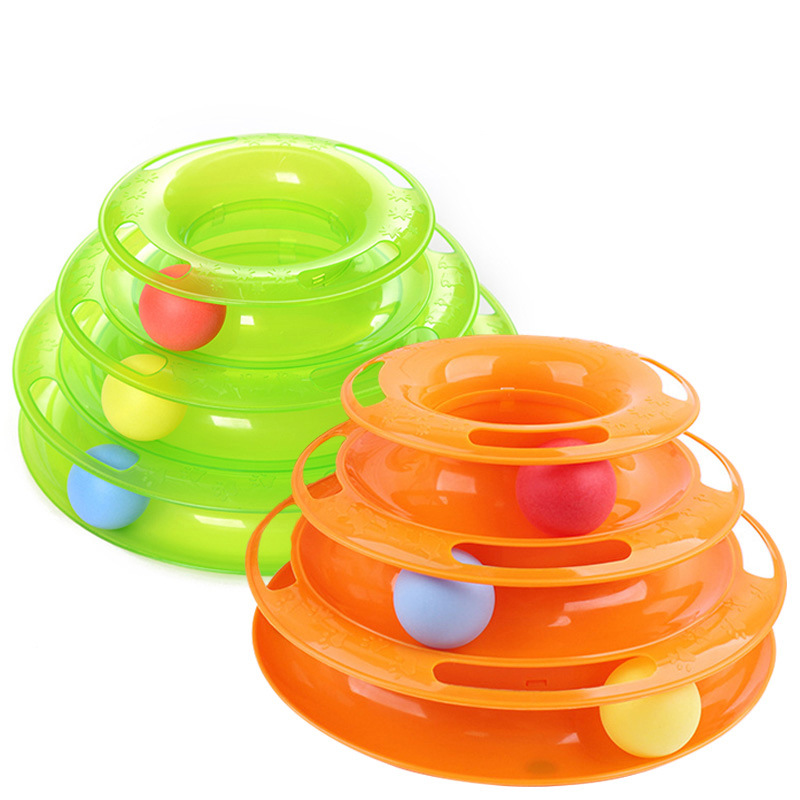 Kimpets Plastic Three Levels Tower Tracks Disc Cat Toy Amusement Shelf Play Station Pet Cats Triple Play Tunnel Ball Toys Jouet