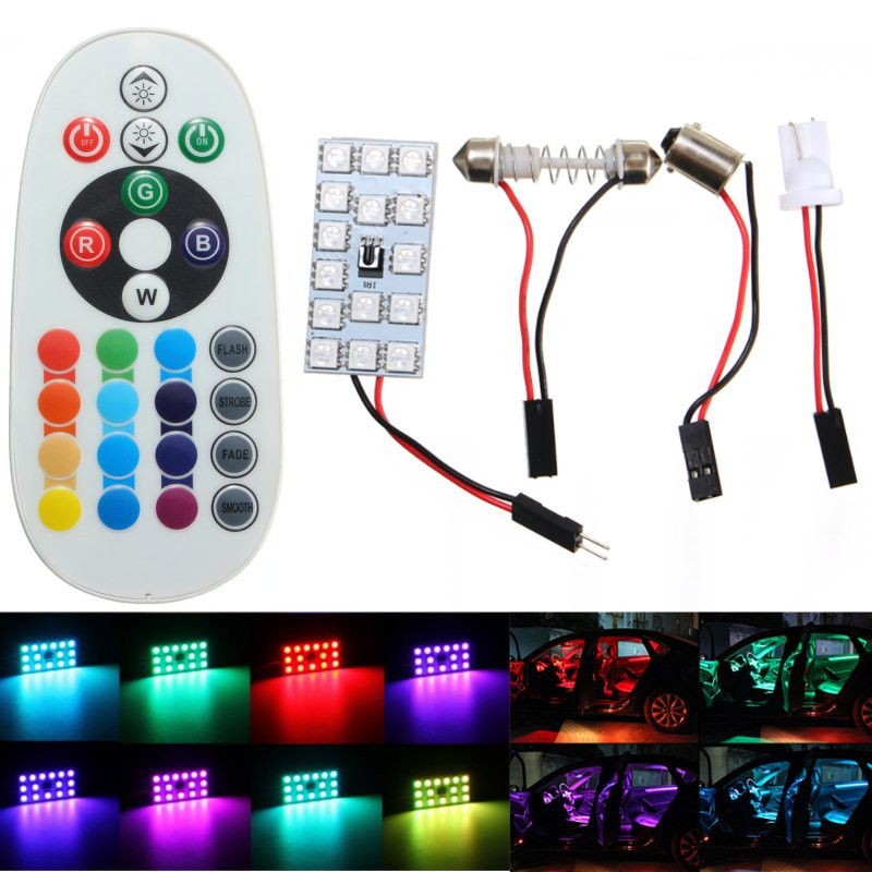 T10 5050 SMD 16 Colors RGB LED Panel Auto Car Interior Reading Map Lamp Bulb Light Dome Festoon Remote Controller Flash/Strobe