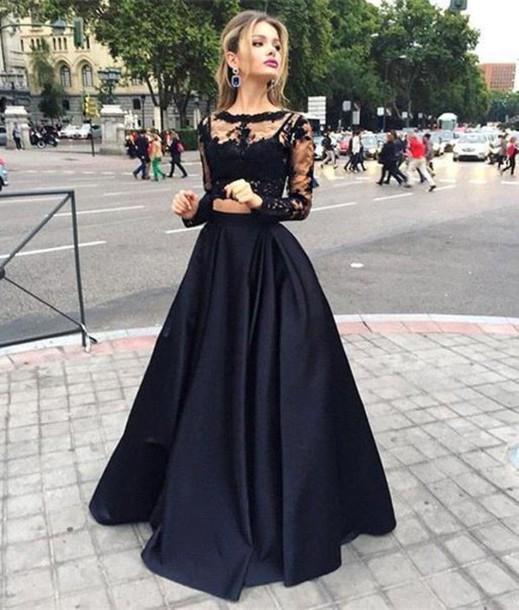 Noir manches longues Illusion robes de bal partie dentelle transparent dos grande taille modeste Occasion spéciale robes tenue de soirée pour les femmes - 3
