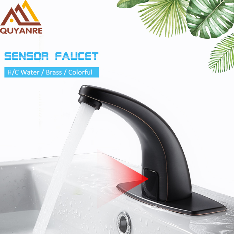 Quyanre Hot Cold Bathroom Automatic Touch Free Sensor Faucets water saving Inductive electric Water Tap mixer