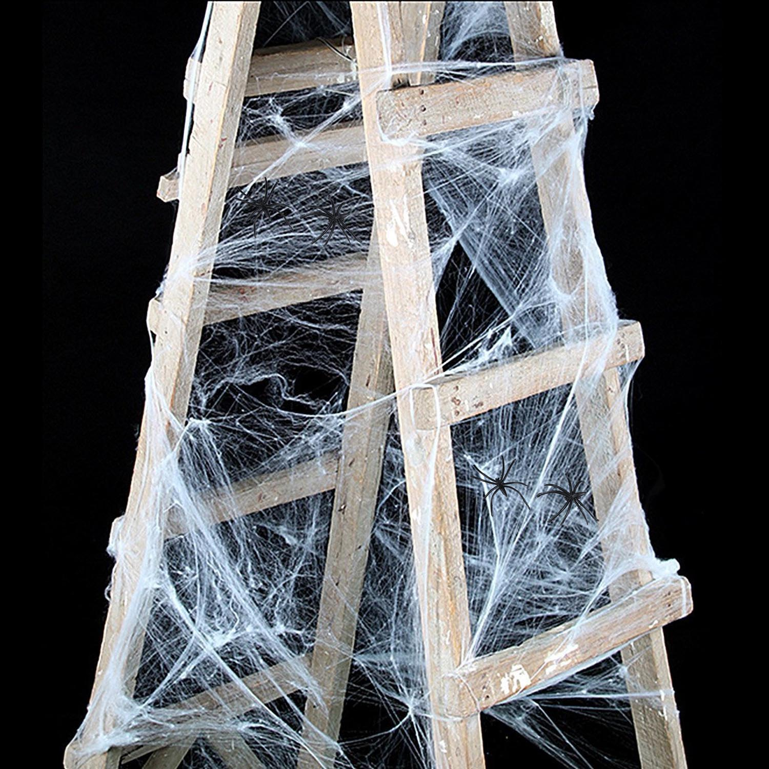taos 6 pcsset disposable white halloween party spiderweb decoration spider webs webbing cobwebs