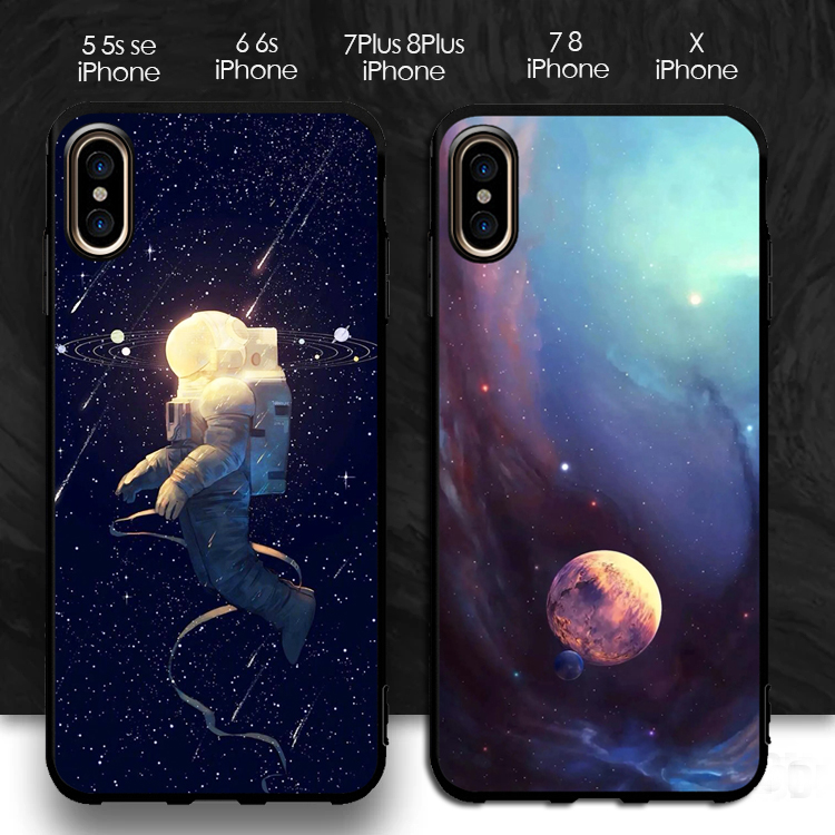 Cosmonaut Planets Cosmos Stars Soft Iphone 6 7 8 5 5S Se X XR XS Max Case Moon Flower For Iphone 6S 7 8 Plus Case Cover