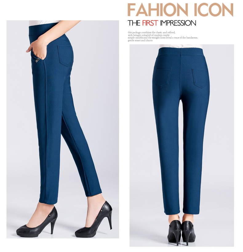 Women Casual Pants 2016 Autumn Middle Aged Womens Wine Red Dark Blue Black Khaki Trousers Mother  High Waist Pant XL 2XL 3XL 4XL Pantalones (6)