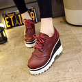 New Women Pumps Fashion Round Toe Lace-Up Med Heels Ankle Boots Woman Shoes Black White Red Brown 35-39