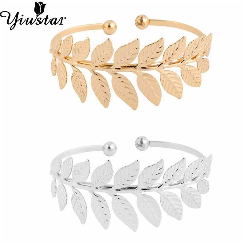 Yiustar Leaf Bangles Open Fine Leaf Statement Bracelet Bangles for Women Girls Cuff Bangles Brass Lovely Bracelets Wedding Gift