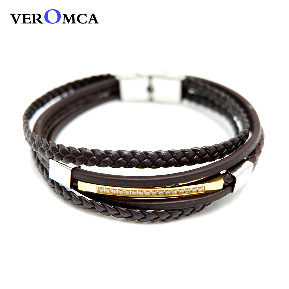 VEROMCA New Jewelry Leather Bracelet Stainless Steel Bracelets Multilayer Braided Leather Bracelets In Jewelry Dainty Gifts