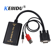 kebidu HD 1080P VGA Male to HDMI Female Converter Adapter with Audio VGA2 HDMI TV AV to HDTV Video Cable Converter Adapter