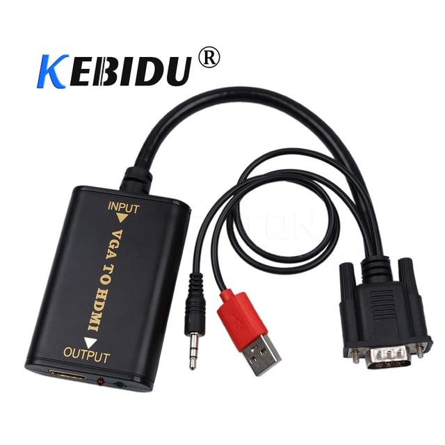 kebidu HD 1080P VGA Male to HDMI Female Converter Adapter with Audio VGA2 HDMI TV AV to HDTV Video Cable Converter Adapter