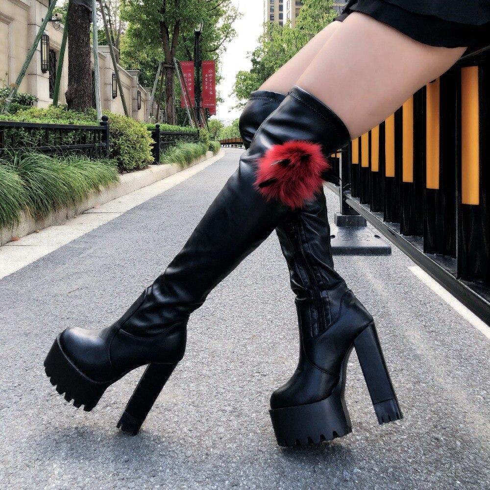 2018 winter new women s boots Korean high heeled over knee boots 15 cm super high