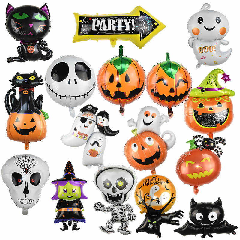 Halloween Balloon Ghost Pumpkin Decoration Spider Bat Witch Skull Black Foil Balloon Globos For Halloween Party Decor Supplies