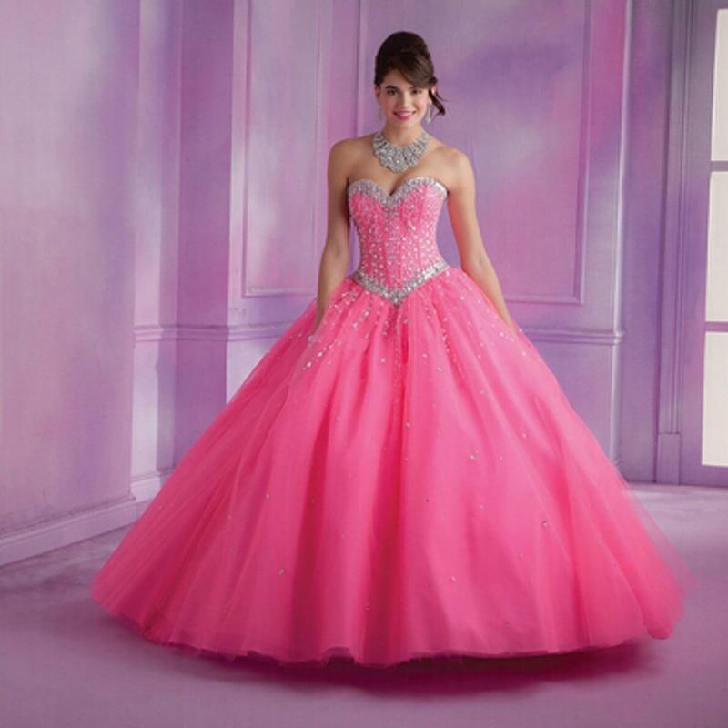Cristal de Bal Robe Rose Quinceanera Robe de Bal Sans Manches Lace Up Formelle robe robes de 15 anos Chérie de Bal Robe