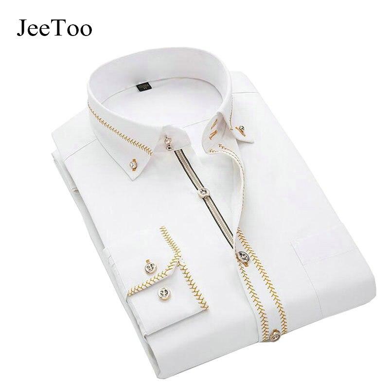 French Mens Shirts Long Sleeve Male Brand Shirt Cotton Mens Dress Shirts Slim Fit White Black Wedding Shirt Men Chemise Homme