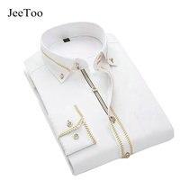 JeeToo Koszule Męskie Z Długim Rękawem Koszula Slim Fit Bawełna Mens Dress koszulki Biały Czarny Koszula Ślubna Mężczyzn Plus Rozmiar 5XL Koszulka Homme