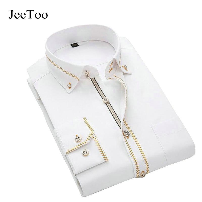 40e07a6a JeeToo Mens Shirts Long Sleeve Slim Fit Shirt Cotton Mens Dress Shirts  White Black Wedding Shirt Men Plus Size 5XL Chemise Homme