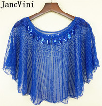 JaneVini Royal Blue kobiety okłady z frezowanie cekiny luksusowe letnie wesele ślubne peleryny na wieczorny bal marynarka strój etole bolerka