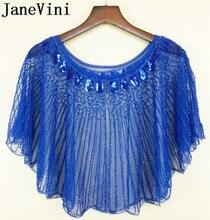 Janevini azul real feminino envoltórios com miçangas lantejoulas luxo verão casamento nupcial capes noite baile de formatura vestido jaqueta stoles boleros
