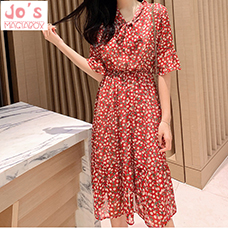 Summer-Chiffon-Print-Korean-Women-Dress-Mid-Calf-Bow-Flare-Sleeve-Office-Vintage-Sweet-Party-A