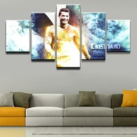 Home Decorative HD Printed Canvas Wall Art Modular Pictures 5 Pieces Sports Cristiano Ronaldo Paintings Living