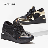 zapatos de mujer Shoes Women Fashion Brand Platform Sneakers Gold Lady chaussure Autumn Female footware Glitter Shoes Patchwork