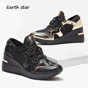 new arrivals 73b19 30735 Women Platform Sneakers Lady chaussure Autumn Glitter Shoes