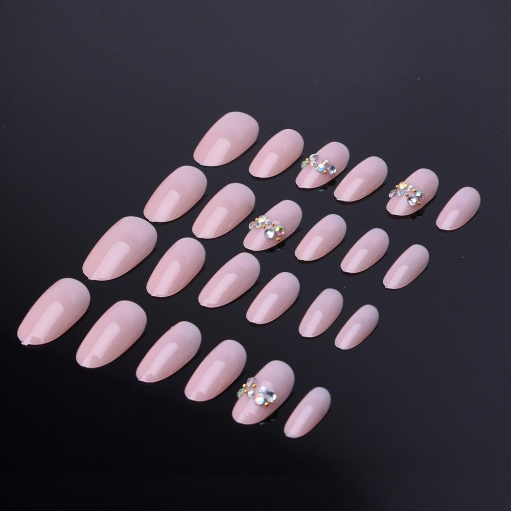 24 Pcs Acrylic Fake Fingernails Full Cover Fake False Nude Pink Nail ...