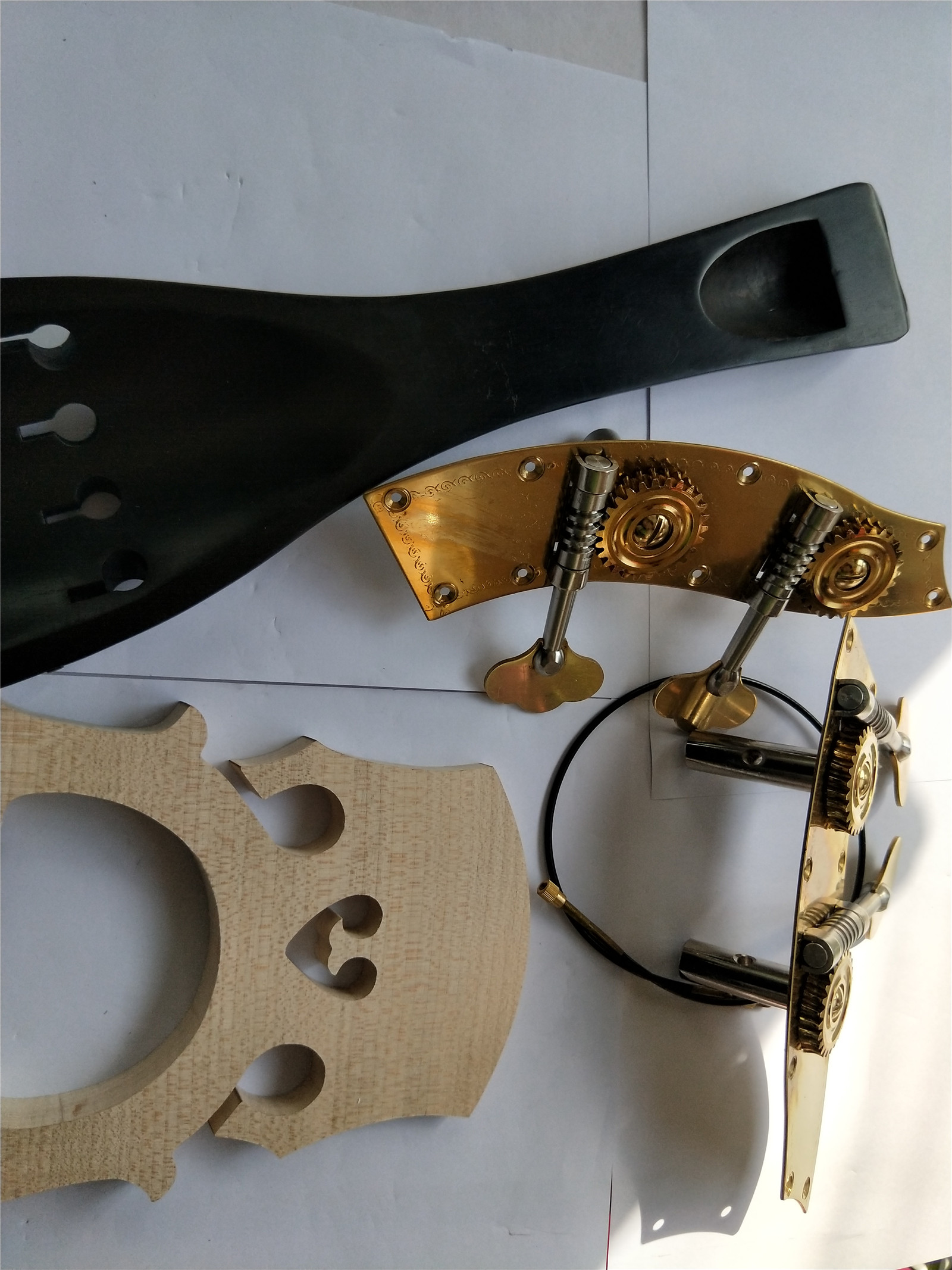 Ebony Double Bass Tail Piece & Maple Bridge Steel Gut and Bass Turning Pegs 3/4 happy gut