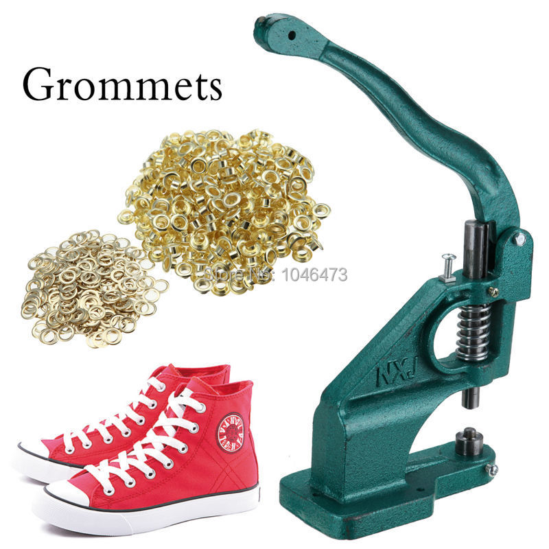 цена на (Ship from germany) Grommet Machine Eyelet Hand Pressor Tool For Banner Bags Shoes Button Maker +3 Die & Free 900 Grommets