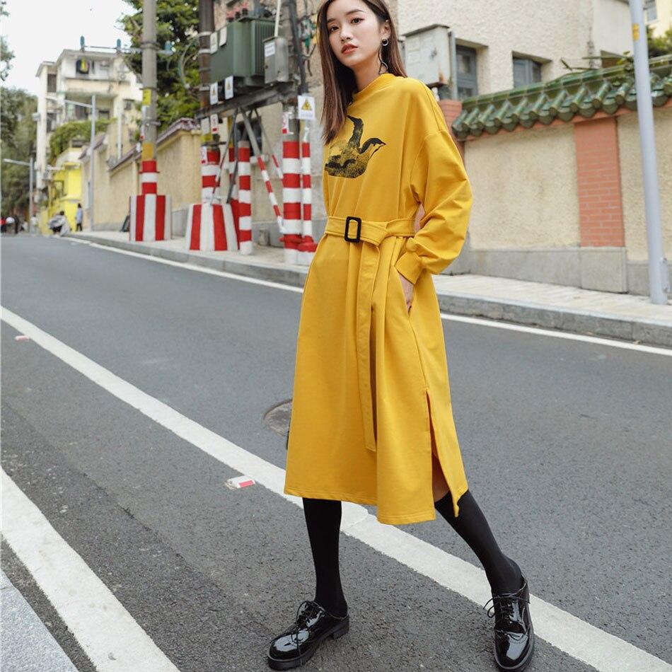 Chauve Femmes Pull Hiver Robe Manches O De Cx1258 Jaune Automne cou Robes souris Casual Nouvelles Molletonné Vêtements Chaud Femme Dame 0dAFdq