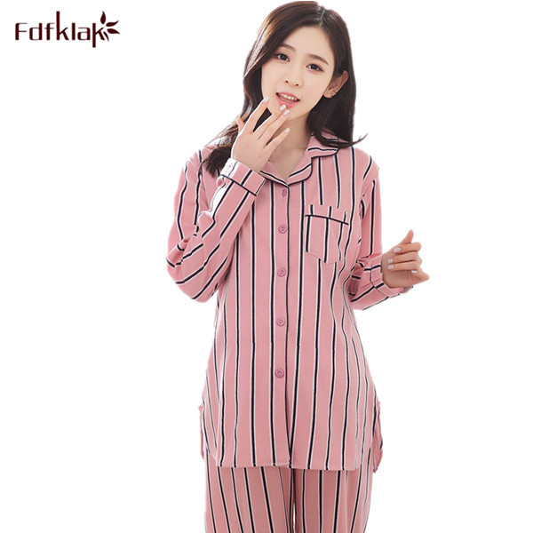 bfbfb1a491 Spring Summer Striped Long Sleeve Pyjamas Set Cotton Maternity Sleepwear  Pregnant Women Pijama Women s Pajamas Plus Size M-XXL