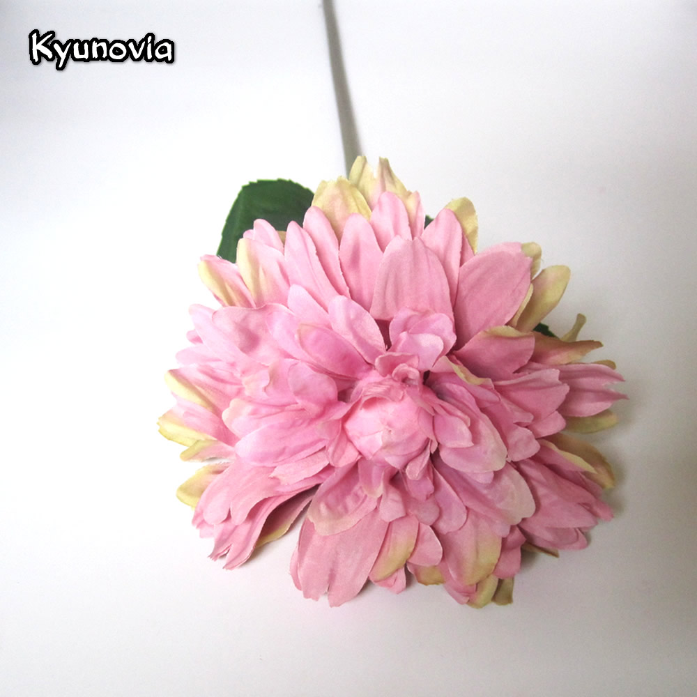 Kyunovia Long Stem Dahlia Silk Flower African Chrysanthemum Flower