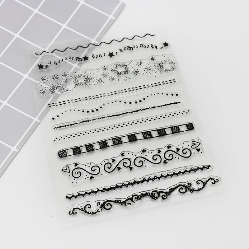 Notes Stars Divider Line Silicone Stamp, Children Diy Handmade Scrapbook Diary Photo Album Decoration Students Soft Stamps