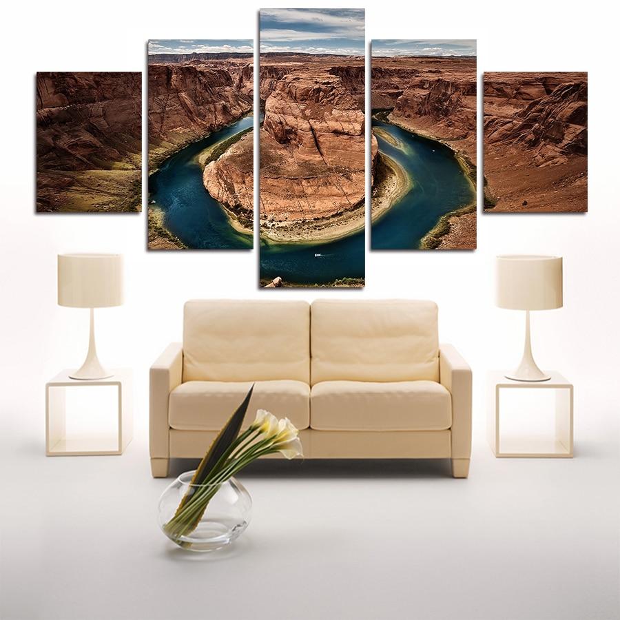 modern 5 panel lukisan kanvas wall art gunung agung untuk living room canvas print gratis pengiriman