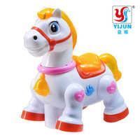 Cavalo dos desenhos animados brinquedo elétrico interativo animal de estimação swith música & luz brinquedos de aprendizagem para crianças presentes natal