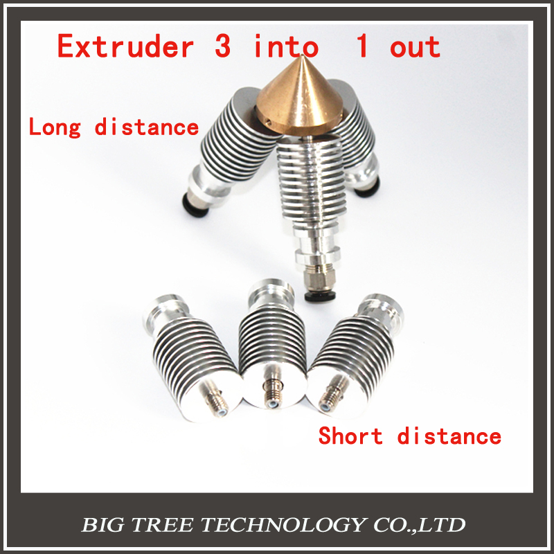 ФОТО 3D V6 heatsink Brass Color Nozzle 3 IN 1 OUT 0.4mm For 1.75mm Multi Nozzle for selection for 3D printer