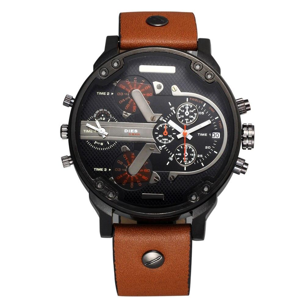 Prix pour Mode MEURT Hommes de Grand style du Cadran bracelet En Cuir Date Calendrier quartz montre-bracelet D044