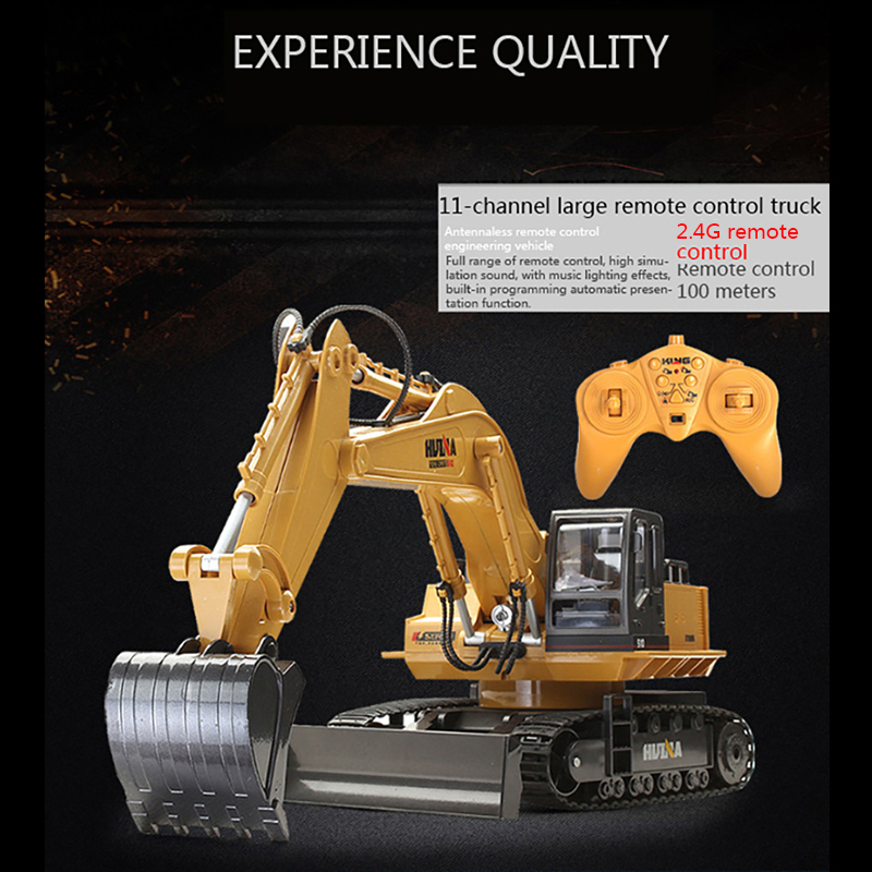 Image 3 - huina 510 Wireless Remote Control Alloy Excavator Simulation Children Charging Electric Toy Excavation Engineering Vehicle Model-in RC Cars from Toys & Hobbies
