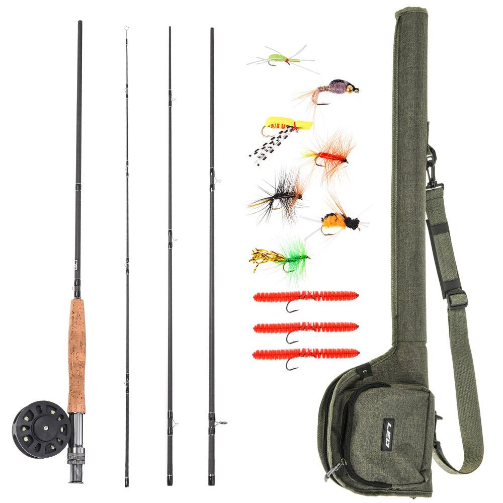 Lot de cannes à pêche 9' canne à pêche à la mouche et moulinet Combo avec sac de transport 10 mouches ensemble de démarrage complet Kit de pêche à la mouche