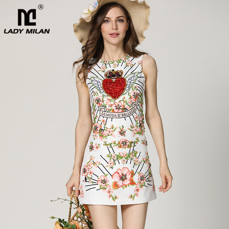New Arrival 2018 Womens O Neck Sleeveless Beaded Floral Letters Printed Fashion A Line Short Dresses