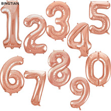 BINGTIAN  32inch Rose gold figures Foil Balloons Kids Party Decoration Happy Birthday Wedding Digital balloon Number 1pcs