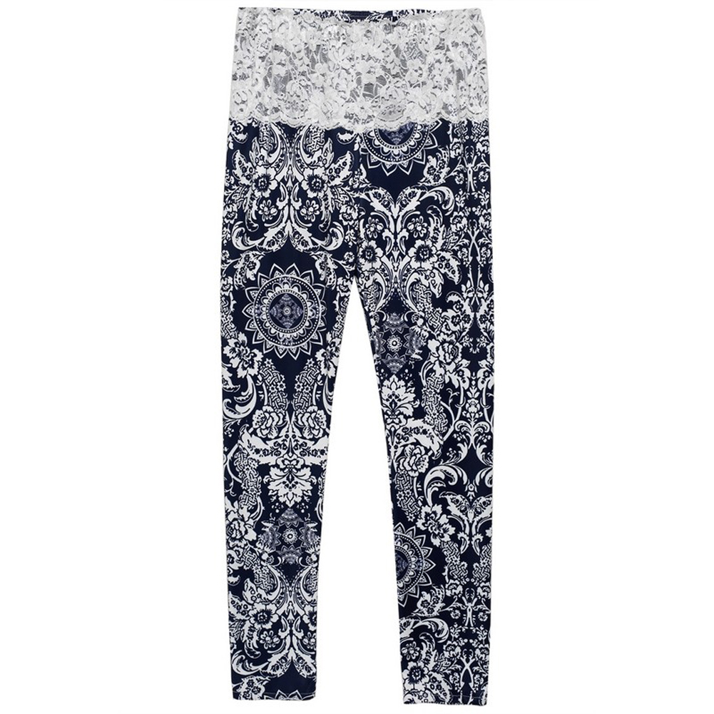 Women Elastic Mid Waist Lace Crochet Patchwork Floral Long Pants Fashion Female Autumn Spring Elegant Pants Soft Casual Pants