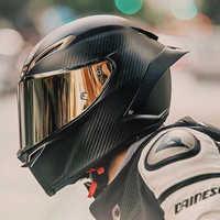 Cara completa de fibra de carbono casco de motocicleta casco de carreras profesional Kask DOT Rainbow Visor Motocross Off Road Touring