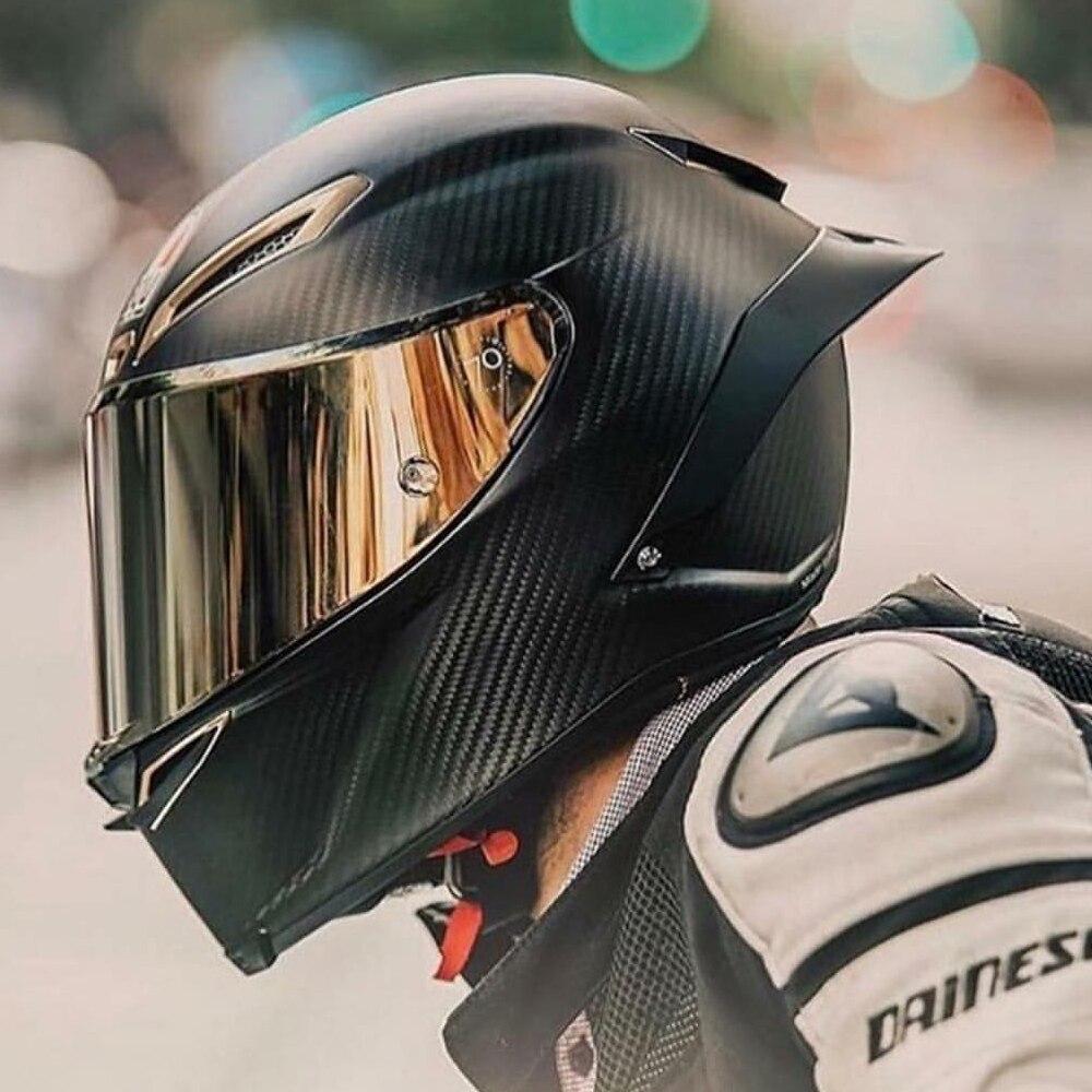Plein Visage Moto En Fiber De Carbone Casque Professionnel Racing Casque Kask DOT Arc Visière Motocross Off Road Touring