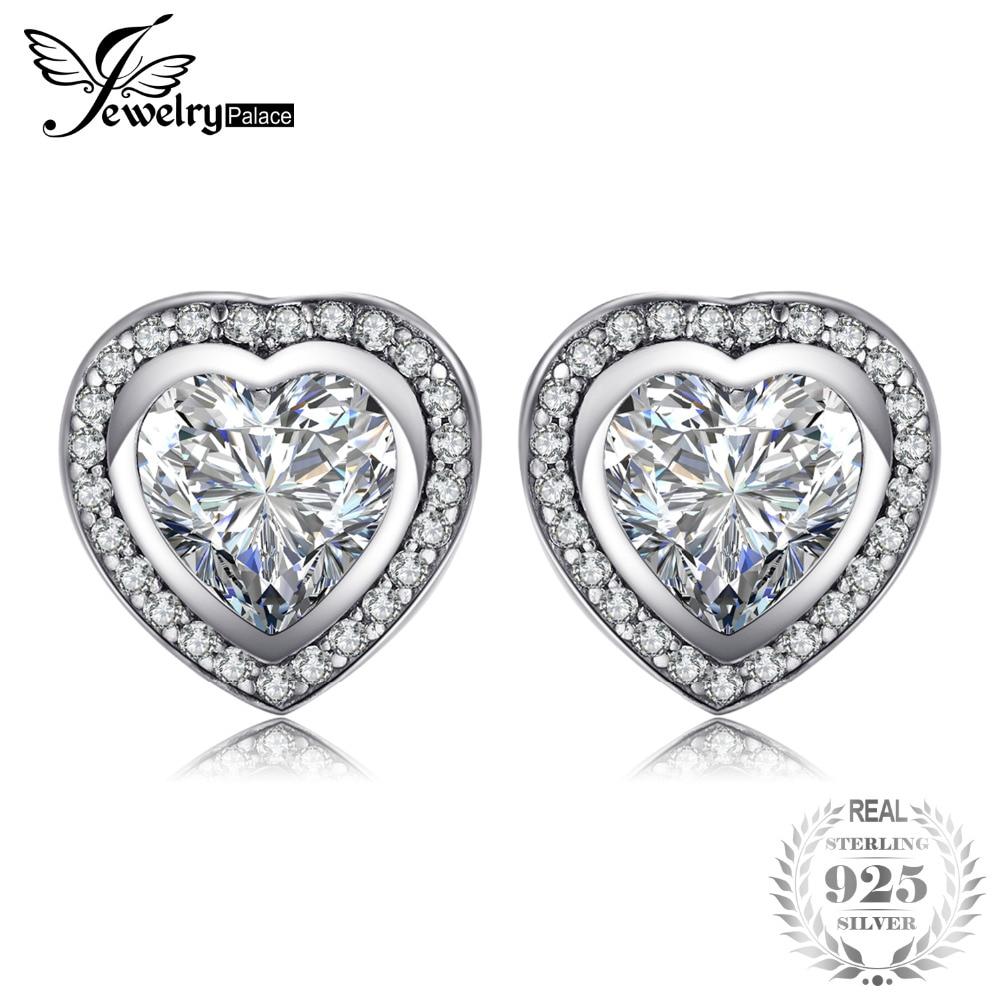JewelryPalace 925 Sterling Silver OnLy Heart Earring Studs 925 SterLing SiLver Jewelry Wedding Earring for Women Fine Jewelry серьги висячие oem 925 925 czkalqra fpuaohba e051 earring