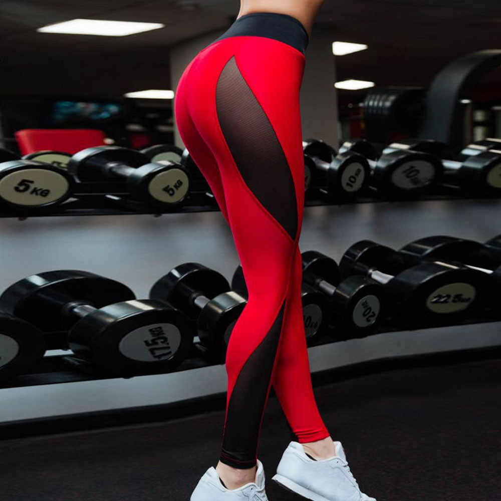 Women tights mesh Hollow Splice Sports Gym Workout Running Fitness Leggings flexible track Pants Athletic trousers Sportswear