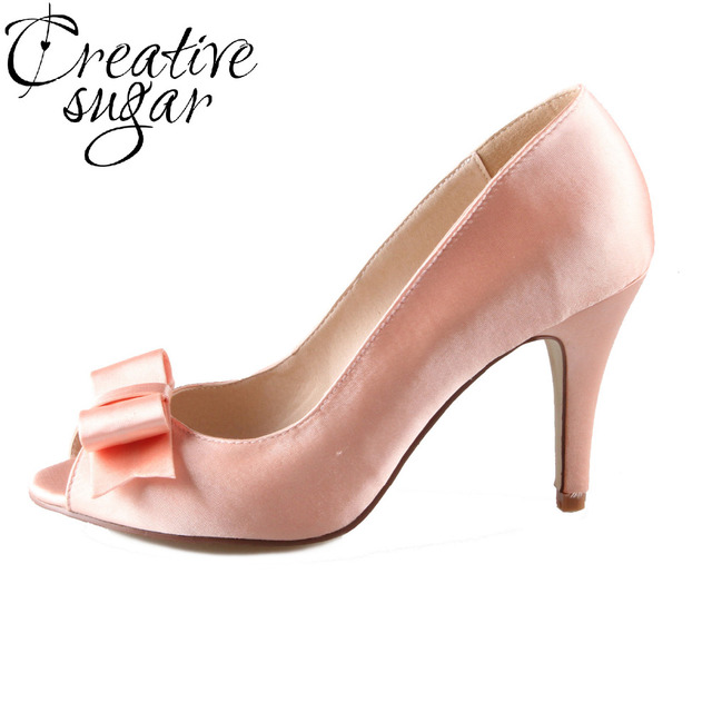 Creativesugar Handmade watercolor peach nude blush bow bowknot open toe  bridal bridalmaids shoes wedding party quinceanera heels