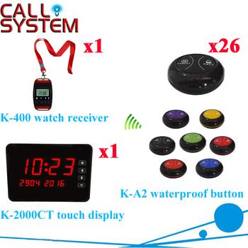 Przycisk połączenia bezprzewodowego systemu restauracja Pager z wyświetlacz z zegarka Pager i przycisk połączenia (1 wyświetlacz + 1 zegarek + 26 przycisk połączenia) tanie i dobre opinie Ycall K-2000CT+K-400+K-A2-black black Wireless Call Button System 433 92mhz 1 dot =Call 2 dots =Bill 3 dots =Drink 200m in open area