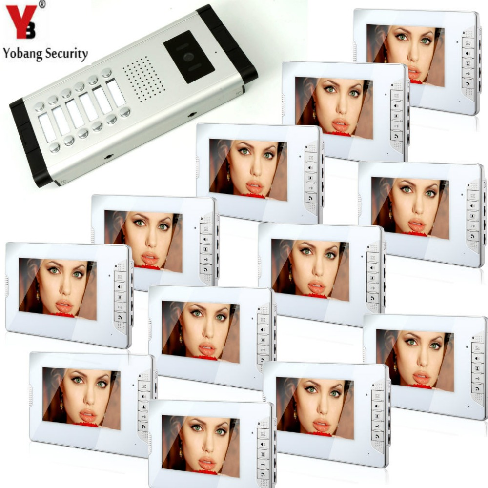 Yobang Security 7 Inch LCD 12 Apartment Video Door Phone Video Intercom 1 Doorbell Camera With 12 Button 12 Monitor Waterproof