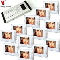 Yobang bezpieczeństwa 7 cal LCD 12 apartament wideo telefon drzwi wideo domofon 1 dzwonka kamera z 12 przycisk 12 Monitor wodoodporna w Wideodomofony od Bezpieczeństwo i ochrona na